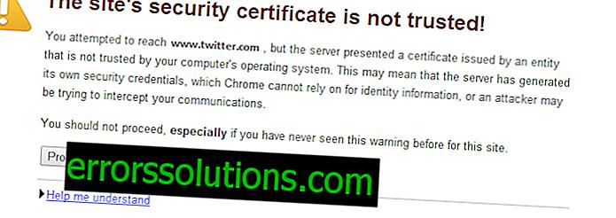 Как да поправите сертификата за сигурност на сайта не е доверена грешка?